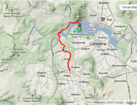 Weston Creek Half Marathon Route