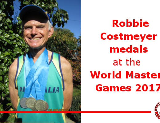 Robbie Costmeyer medals at the World Masters Games 2017